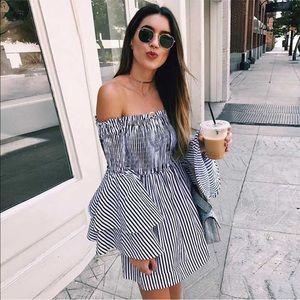 Dresses & Skirts - Strapless ruffle sleeve off shoulder smocked dress